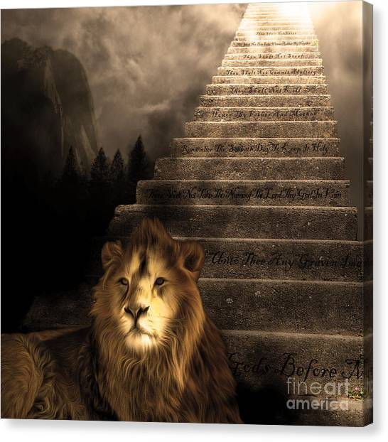Led Zepplin Canvas Print - Stairway To Heaven V1 Sepia Square by Wingsdomain Art and Photography