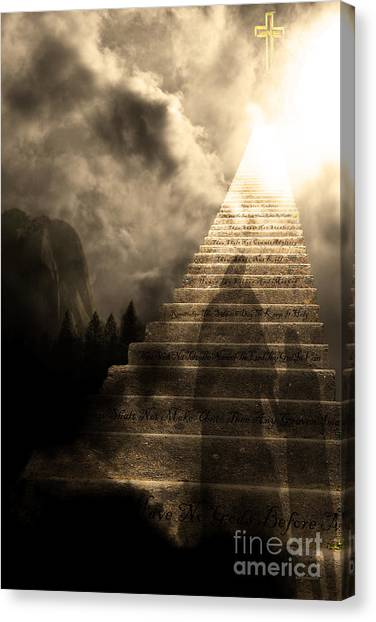 Led Zepplin Canvas Print - Stairway To Heaven V2 Sepia by Wingsdomain Art and Photography