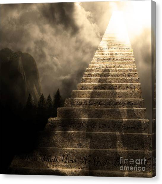 Led Zepplin Canvas Print - Stairway To Heaven V2 Square Sepia by Wingsdomain Art and Photography