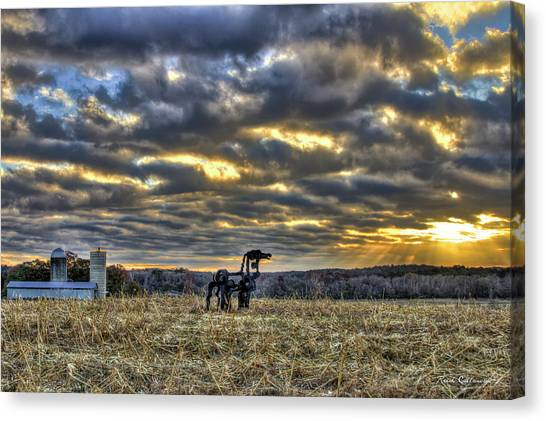 University Of Georgia Canvas Print - Stairways To Heaven Winter Sunrise The Iron Horse Art by Reid Callaway
