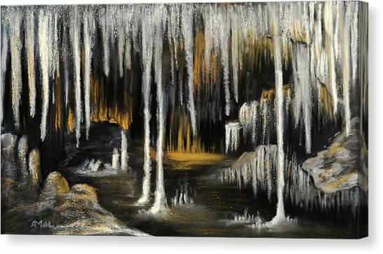Canvas Print featuring the painting Stalactite Cave by Anastasiya Malakhova