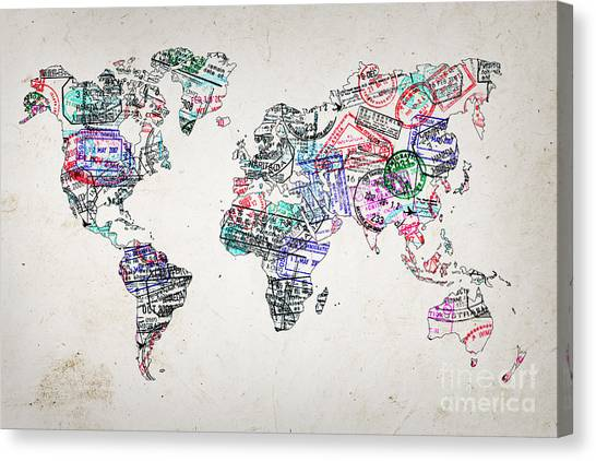 Immigration Canvas Print - Stamp Art World Map by Delphimages Photo Creations