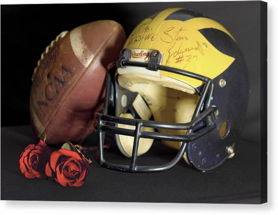 Stan Edwards's Autographed Helmet With Roses Canvas Print