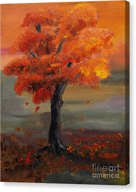 Stand Alone In Color - Autumn - Tree Canvas Print