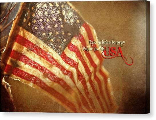 Take A Knee Canvas Print - Stand For The Usa by Charrie Shockey