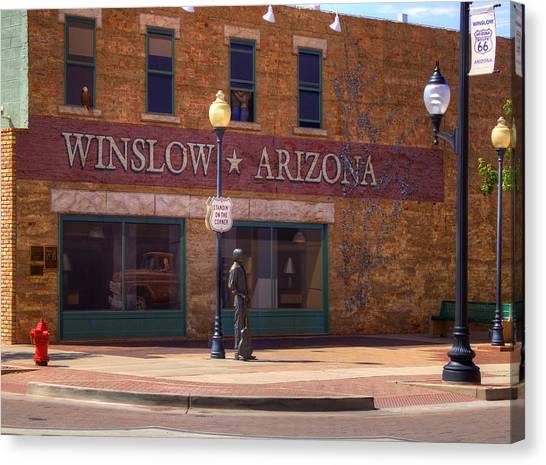 Winslow Canvas Print - Standin On A Corner by Ricky Barnard