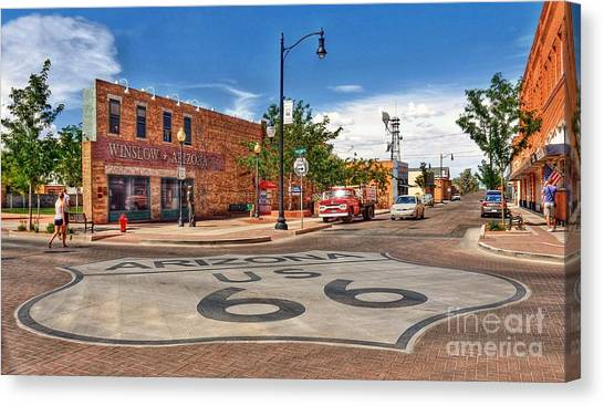 Standin On The Corner Route 66 Canvas Print by John Kelly