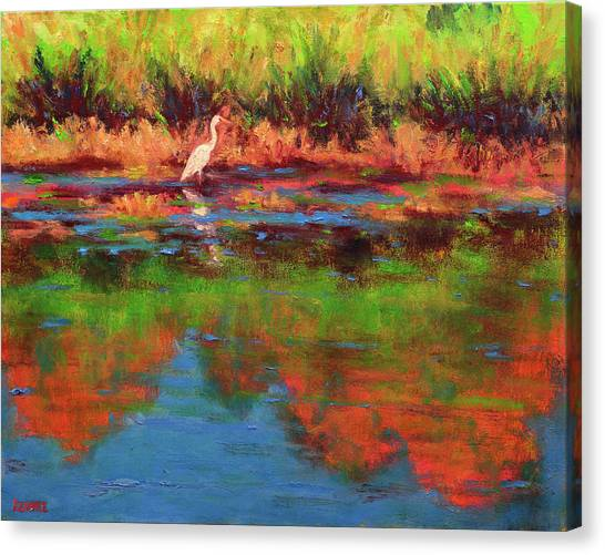 Langan Lake Heron I Canvas Print