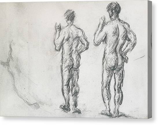 Male Nude Art Canvas Print - Standing Male Bather  by Paul Cezanne