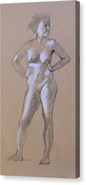 Standing Nude 1 Canvas Print by Robert Bissett