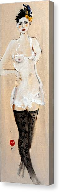 Nipples Canvas Print - Standing Nude In Black Stockings With Flower And Bird In Hair by Susan Adams
