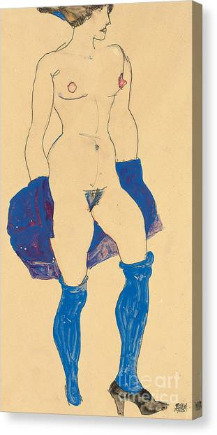 Nipples Canvas Print - Standing Woman With Shoes And Stockings by Egon Schiele