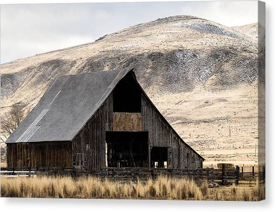 Standish Barn In Winter Canvas Print by The Couso Collection