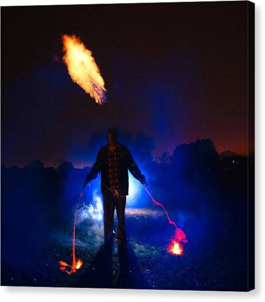 Fire Canvas Print - #standup #notphotoshop #fire #silho by Andrew Nourse