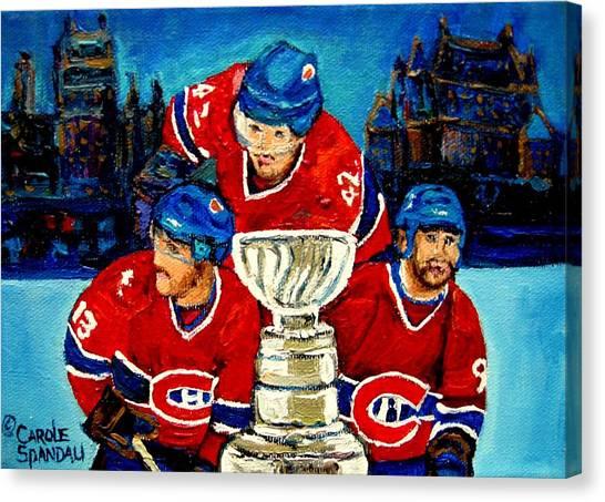Jean Beliveau Canvas Print - Stanley Cup Win In Sight Playoffs   2010 by Carole Spandau