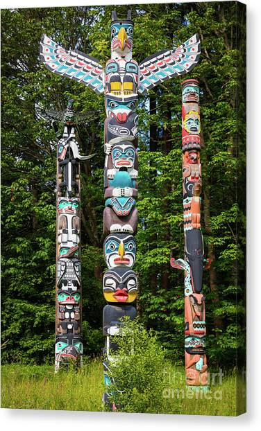 British Columbia Canvas Print - Stanley Park Totems by Inge Johnsson