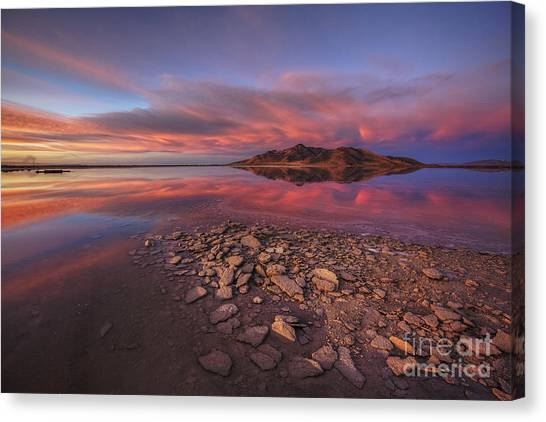 Sunset At A Favorite Spot On The Great Salt Lake Canvas Print