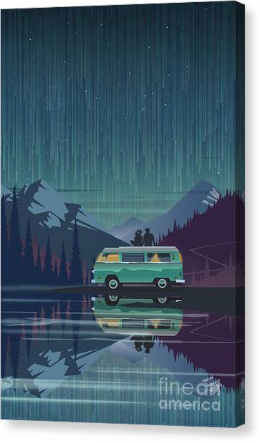 Canvas Print featuring the painting Star Light Vanlife by Sassan Filsoof