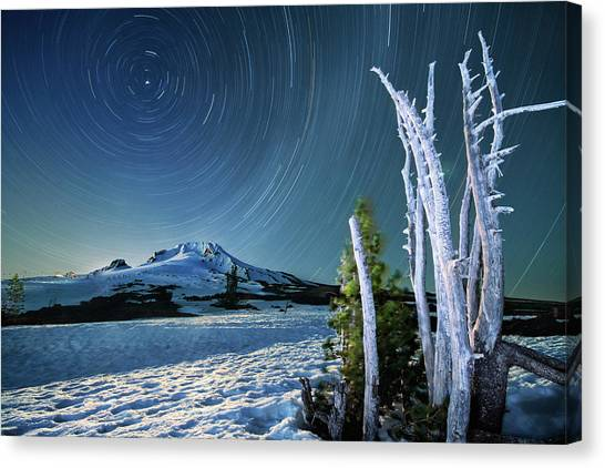 Star Trails Over Mt. Hood Canvas Print