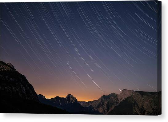 Star Trails Over The Apuan Alps Canvas Print
