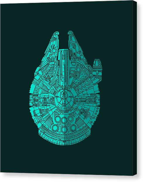 Falcons Canvas Print - Star Wars Art - Millennium Falcon - Blue 02 by Studio Grafiikka