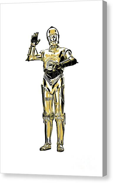 Droid Canvas Print - Star Wars C-3po Droid Tee by Edward Fielding