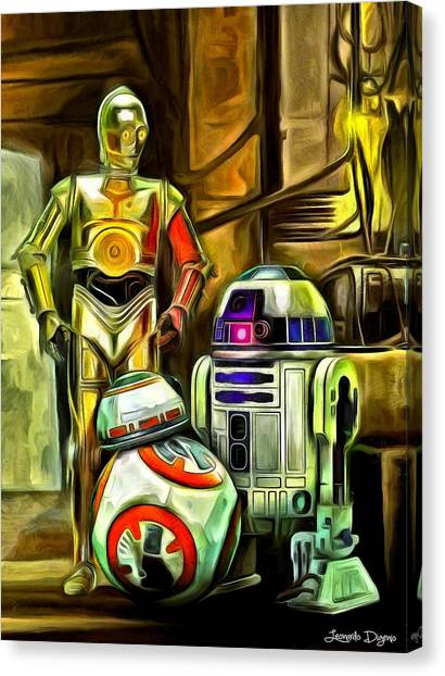 Droid Canvas Print - Star Wars Droid Family by Leonardo Digenio