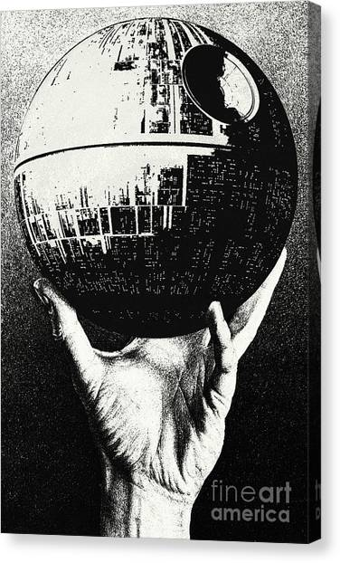 Leia Organa Canvas Print - Star Wars - Escher Death Star by Luca Oleastri
