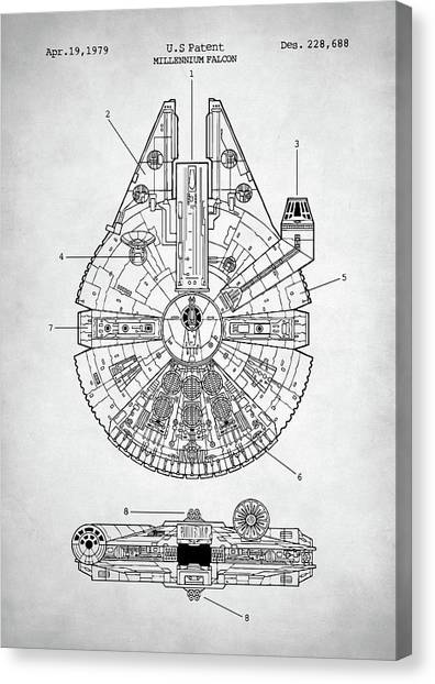 Falcons Canvas Print - Star Wars Millennium Falcon Patent by Zapista