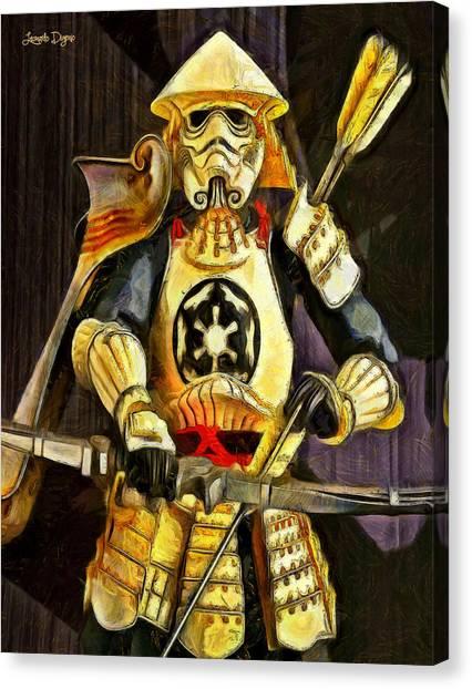 Fighters Canvas Print - Star Wars Samurai Trooper - Pa by Leonardo Digenio