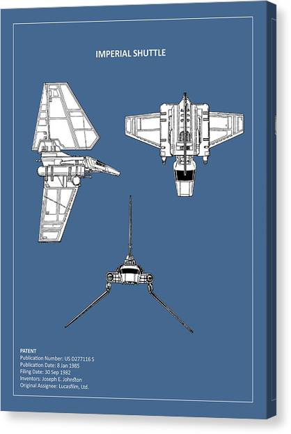 Star Wars Canvas Print - Star Wars - Shuttle Patent by Mark Rogan