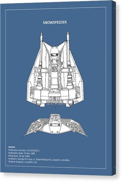 Yoda Canvas Print - Star Wars - Snowspeeder Patent by Mark Rogan