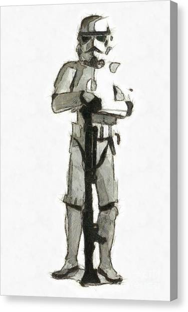Stormtrooper Canvas Print - Star Wars Storm Trooper Pencil Drawing by Edward Fielding