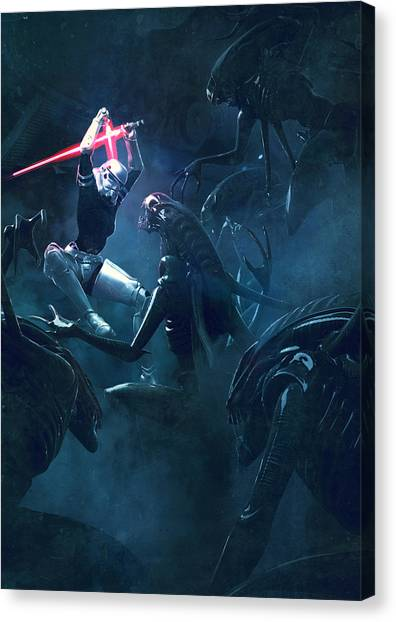 Stormtrooper Canvas Print - Star Wars Vs Aliens 3 by Exar Kun
