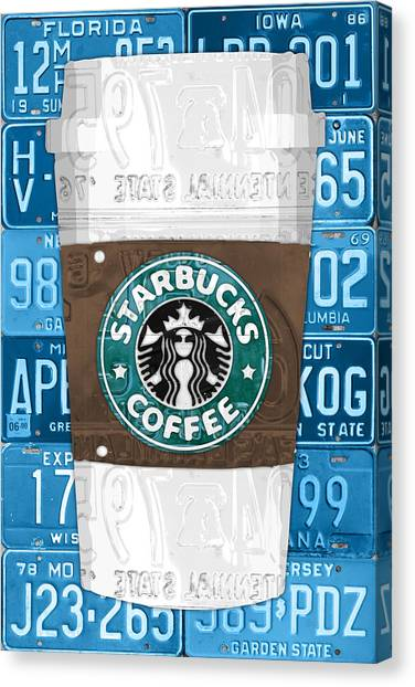 Coffee Canvas Print - Starbucks Coffee Cup Recycled Vintage License Plate Pop Art by Design Turnpike