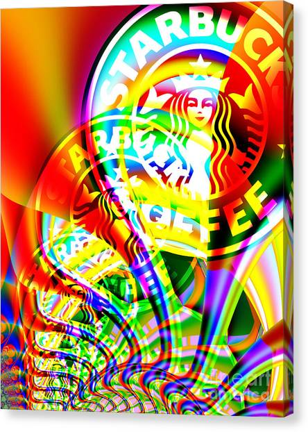 Starbucks Coffee In Abstract Canvas Print
