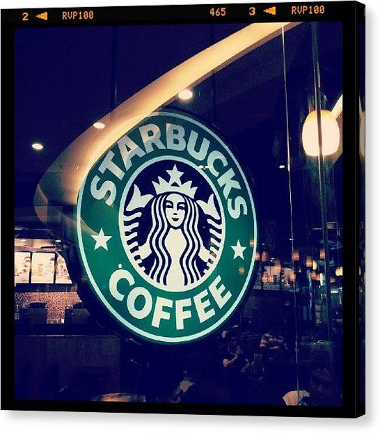 Bright Canvas Print - #starbucks #coffee #yummy #tasty #green by Bryan Thien