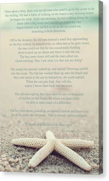 Starfish Make A Difference Vintage Set 1 Canvas Print