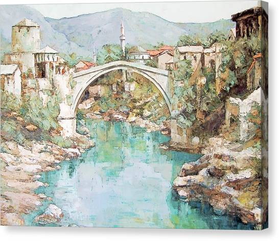 Stari Most Bridge Over The Neretva River In Mostar Bosnia Herzegovina Canvas Print