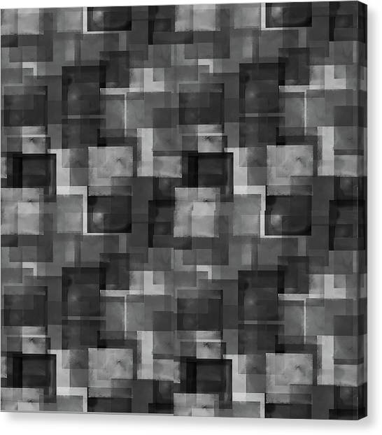 Stark Black Squares Abstract Pattern Canvas Print