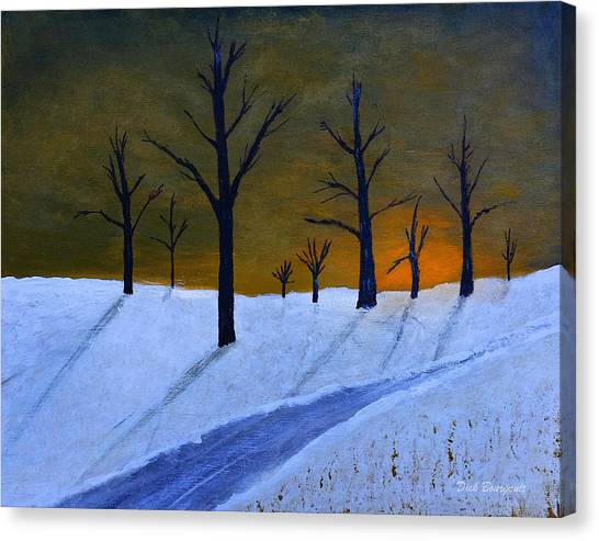 Stark Winter Sunset Canvas Print