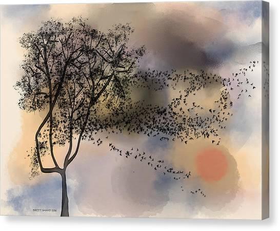 Starlings At Dusk Canvas Print