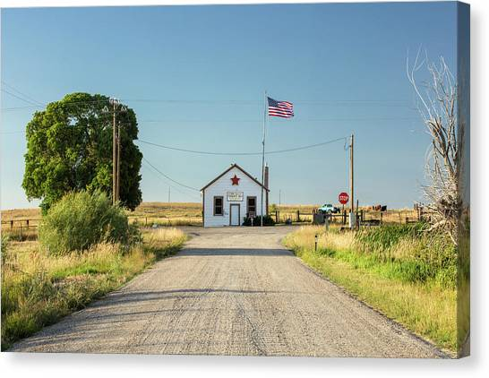 Stop Sign Canvas Print - Starr Valley Community Hall by Todd Klassy