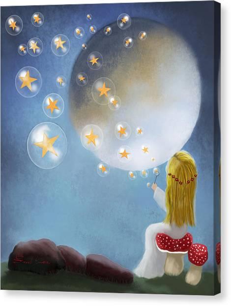 Starry Bubbles By Sannel Larson Canvas Print