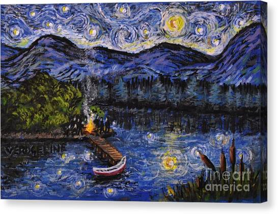 Starry Lake Canvas Print