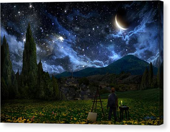 Night Canvas Print - Starry Night by Alex Ruiz