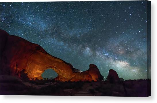 Starry Night At North Window Rock Canvas Print