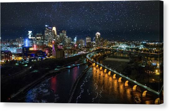 University Of Minnesota - Twin Cities Canvas Print - Starry Night In Minneapolis by Gian Lorenzo Ferretti