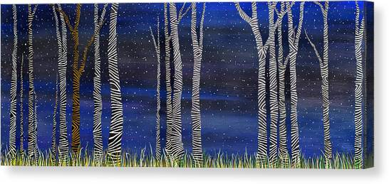 Starry Night In The Zebra Forrest Canvas Print