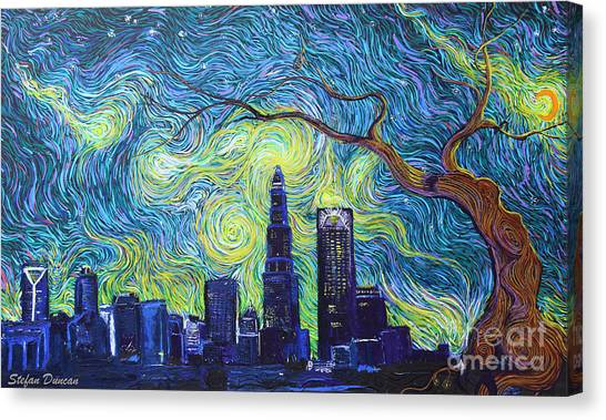 Starry Night Over The Queen City Canvas Print